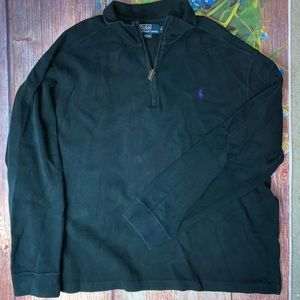 Ralph Lauren POLO Black 1/4 Zip Sweater XL